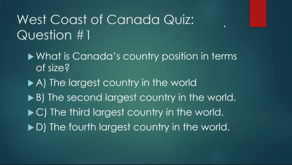 What is Canada's country position in terms of size?