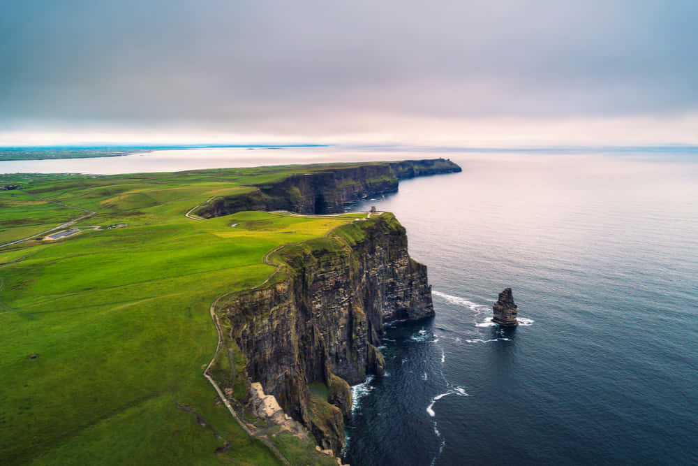 Aerial view of the scenic Cliffs of Moher in Ireland.